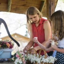 Putting together the flower girl's baskets